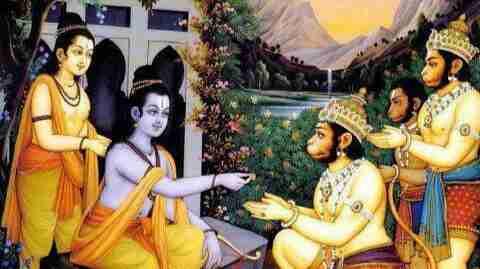 Hanuman in search of Rama's ring