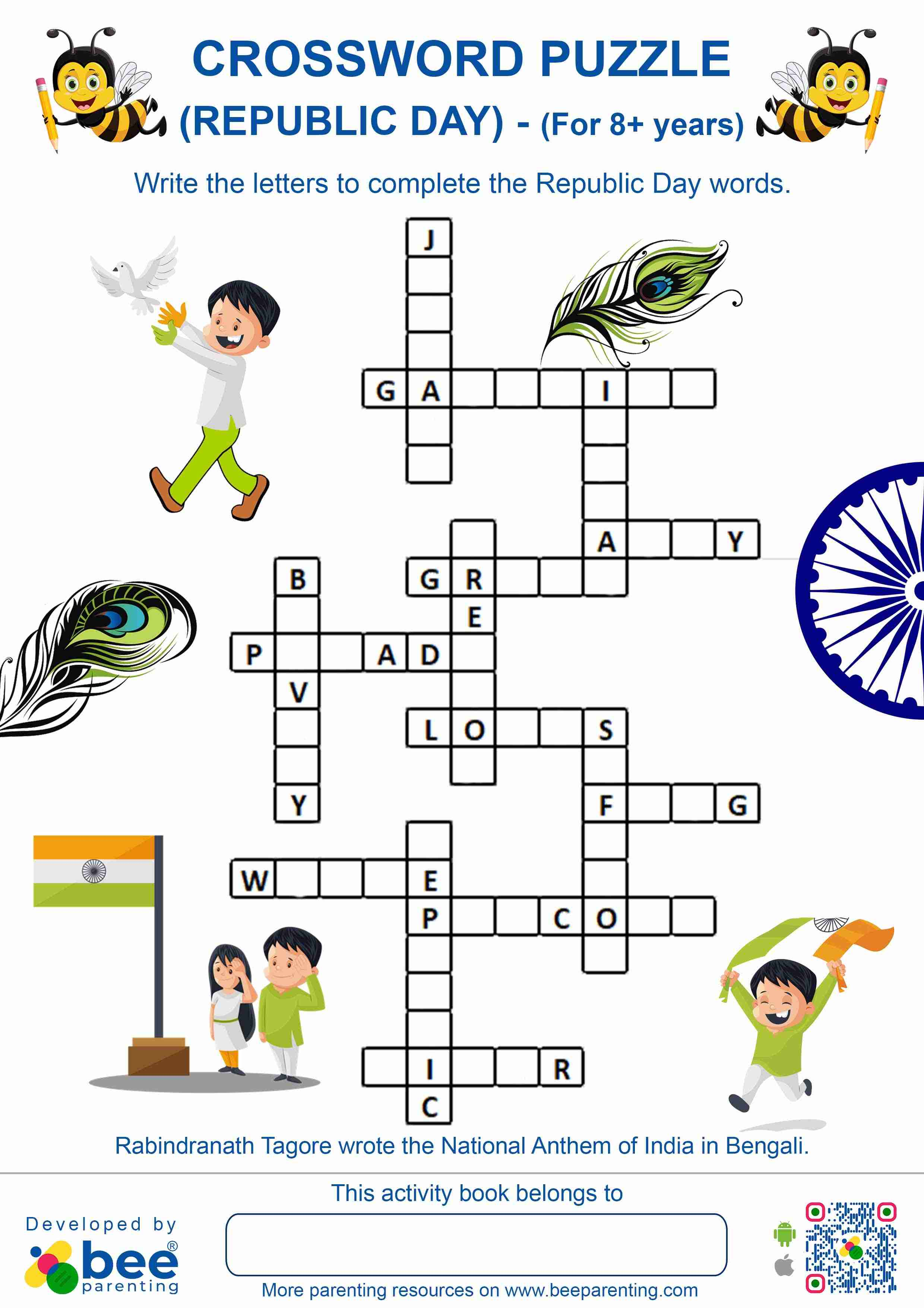 Indian Republic Day Cross Word Puzzle