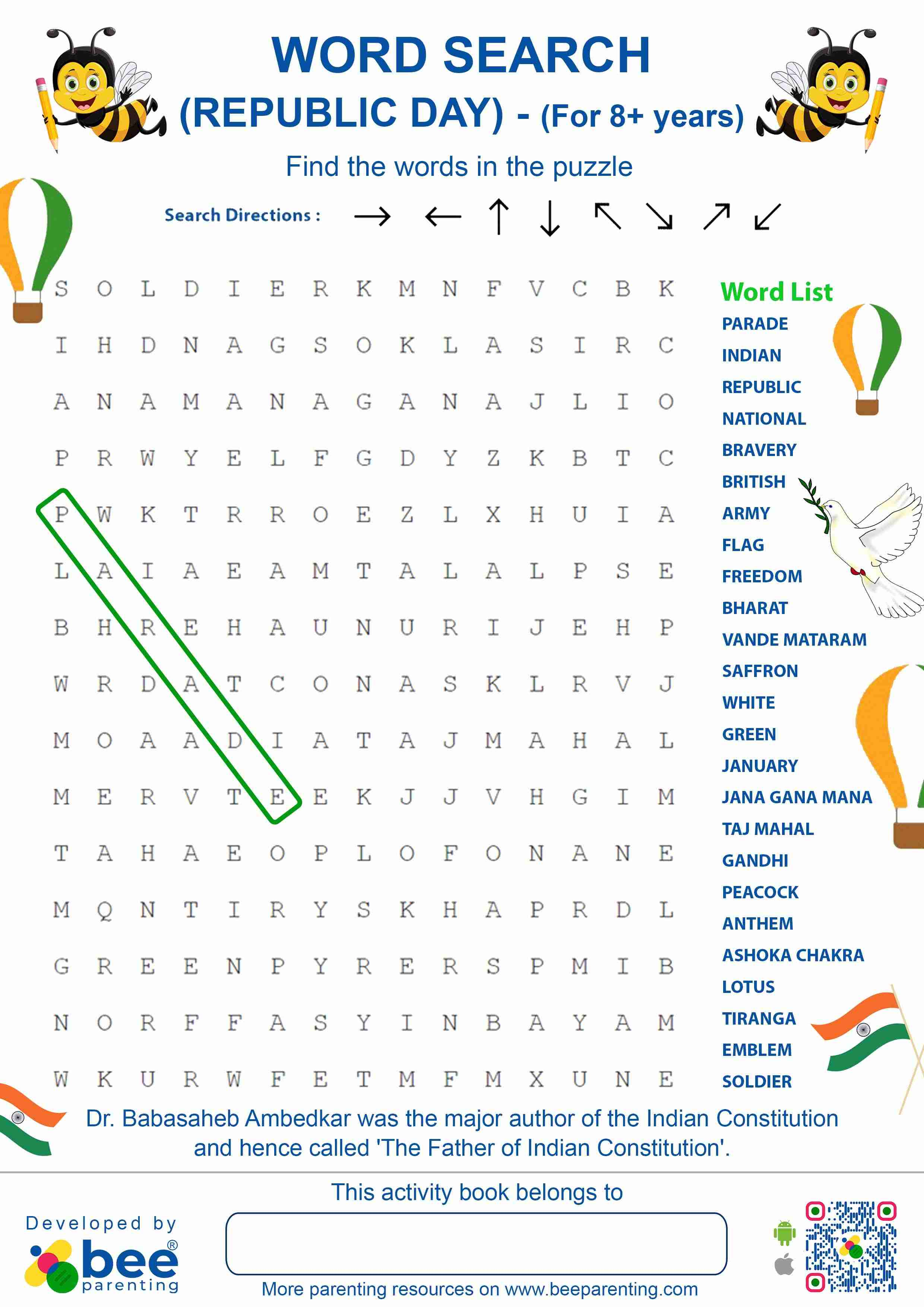 Indian Republic Day Word Search